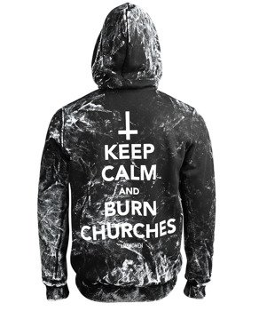 bluza AMENOMEN - KEEP CALM AND BURN CHURCHES (OMEN069CR ALLPRINT WHITE) rozpinana, z kapturem