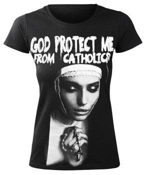 bluzka damska AMENOMEN - GOD PROTECT ME FROM CATHOLICS (OMEN098DA)