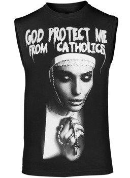 bezrękawnik AMENOMEN - GOD PROTECT ME FROM CATHOLICS (OMEN098BR)