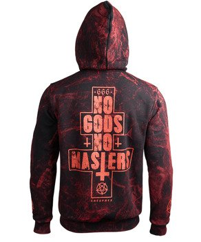 bluza AMENOMEN - NO GODS NO MASTERS (OMEN080CR ALLPRINT RED) rozpinana, z kapturem