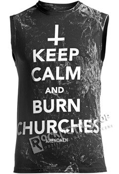 bezrękawnik AMENOMEN - KEEP CALM AND BURN CHURCHES (OMEN069BR ALLPRINT WHITE)