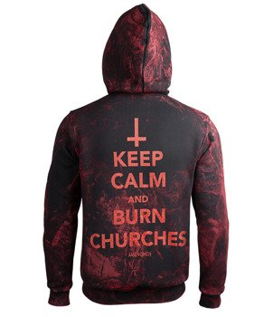 bluza AMENOMEN - KEEP CALM AND BURN CHURCHES (OMEN069CR ALLPRINT RED) rozpinana, z kapturem