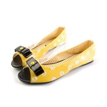 balerinki IRON FIST - POLKA PARTY PEEP TOE FLAT (YELLOW)