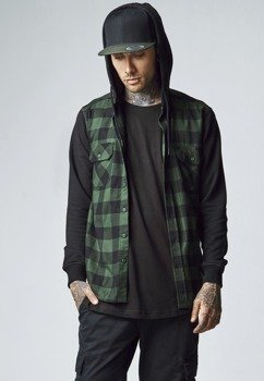 bluza HOODED CHECKED FLANELL blk/forest/blk, rozpinana z kapturem