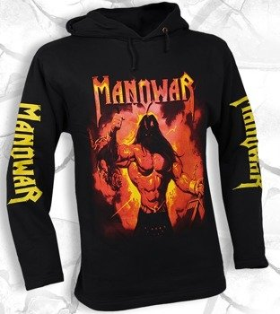 bluza MANOWAR - FIRE AND BLOOD czarna, z kapturem