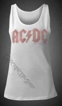 bluzka damska AC/DC - CLASSIC LOGO WHITE, na ramiączkach cyrkonie