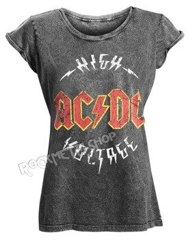 bluzka damska AC/DC - LOGO HIGH VOLTAGE ACID WASH
