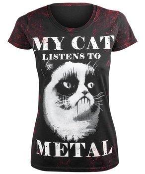 bluzka damska AMENOMEN - MY CAT LISTENS TO METAL (OMEN077DA ALLPRINT RED)