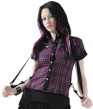 bluzka damska DEAD THREADS (PURPLE TARTAN)