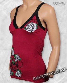 bluzka damska SKULL & ROSES top damski czerwony