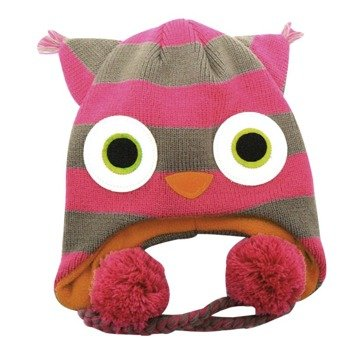 czapka zimowa FREAKS AND FRIENDS - PINK/GREY STRIPED OWL