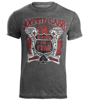 koszulka JOHNNY CASH - RING OF FIRE MENS BURNOUT