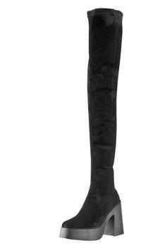 kozaki damskie ALTERCORE czarne zamszowe na obcasie (DAPHNE FAUX SUEDE BLACK)