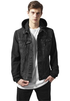 kurtka HOODED DENIM FLEECE JACKET black