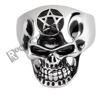 pierścień BIG PENTAGRAM SKULL