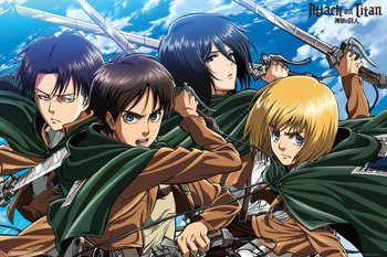 plakat ATTACK ON TITAN - FOUR SWORDS