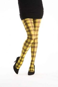 rajstopy SQUARE CHECK TARTAN flo yellow