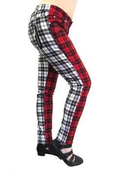 spodnie damskie BANNED - RED/WHITE TARTAN