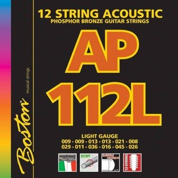 struny do gitary akustycznej 12str. BOSTON AP-112-L PHOSPHOR BROZNE /009-045/