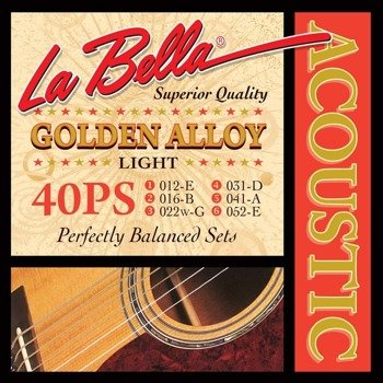 struny do gitary akustycznej LA BELLA: GOLDEN ALLOY 40PS Light /012-052/
