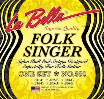 struny do gitary folkowej LA BELLA - FOLK SINGER / BLACK NYLON NO.830