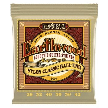 struny do gitary klasycznej ERNIE BALL EB2069 Earthwood Nylon, Ball-End, 80/20 Bronze /028-042/