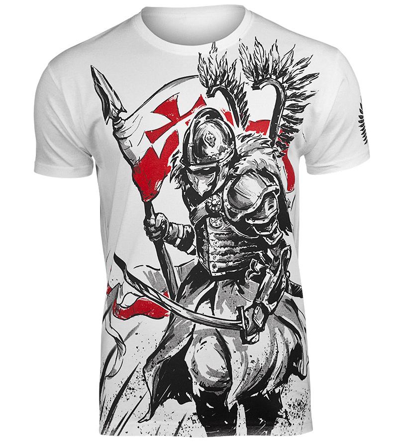 koszulka HUSARZ, biała sklep RockMetalShop.pl