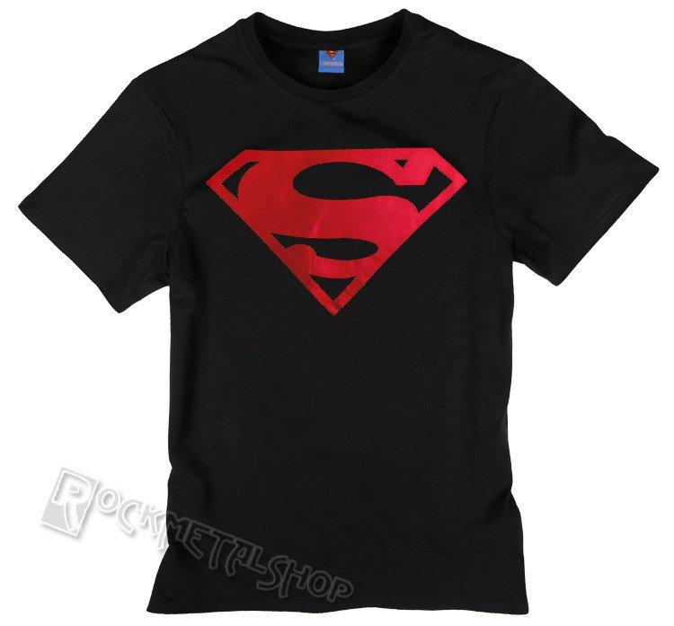 01278d815 koszulka SUPERMAN - LOGO METAL ROUGE czarna - sklep RockMetalShop.pl