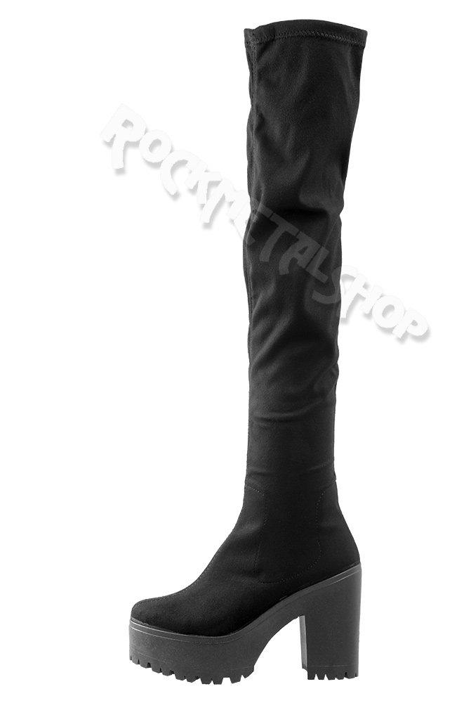 c5ca879194e1c ... kozaki damskie ALTERCORE czarne zamszowe na obcasie (MICHEL BLACK) ...