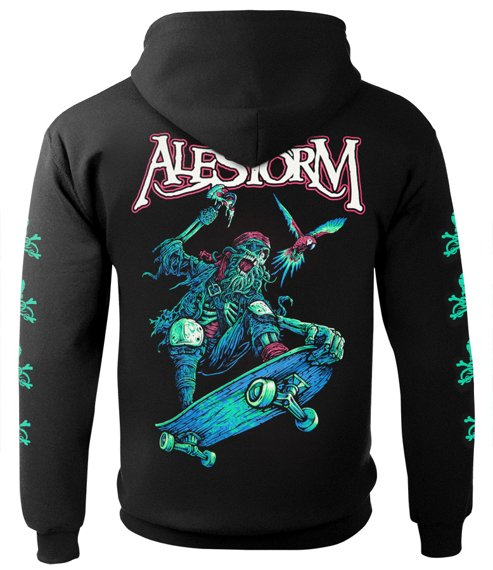 bluza ALESTORM - PIRATE PIZZA PARTY, rozpinana z kapturem