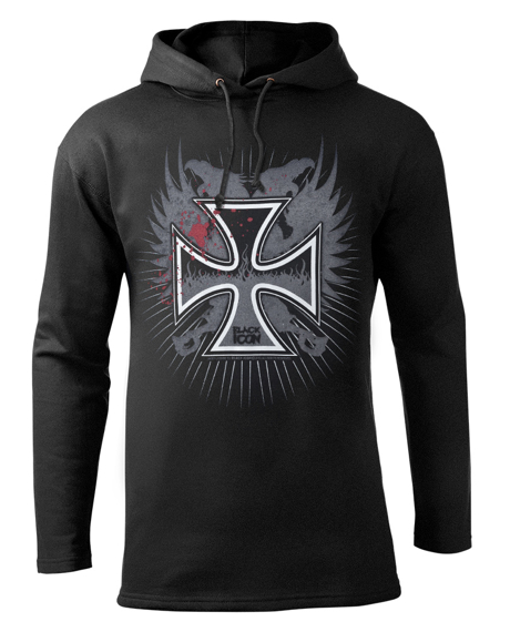 bluza BLACK ICON - CROSS FIRE czarna z kapturem