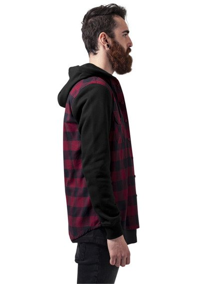 bluza HOODED CHECKED FLANELL blk/burgundy/blk, rozpinana z kapturem