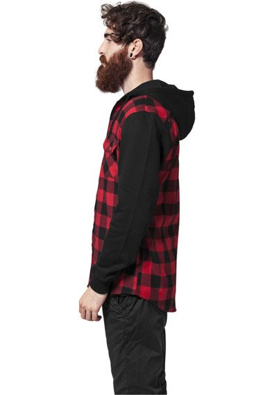 bluza HOODED CHECKED FLANELL blk/red/blk, rozpinana z kapturem