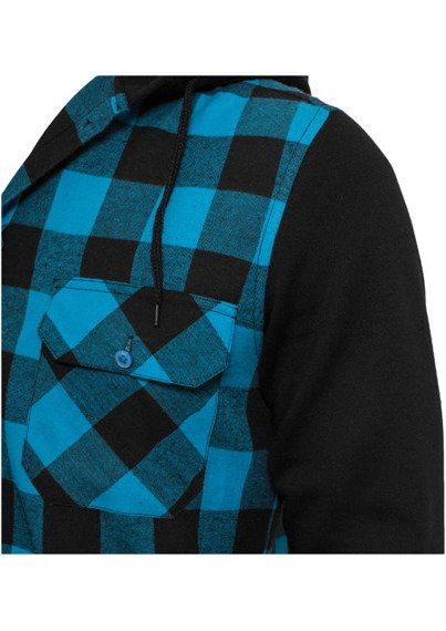 bluza HOODED CHECKED FLANELL blk/tur/blk, rozpinana z kapturem