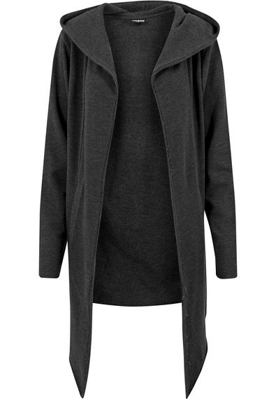 bluza LONG HOODED OPEN EDGE CARDIGAN charcoal