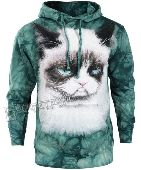 bluza THE MOUNTAIN - GRUMPY CAT, kangurka z kapturem, barwiona