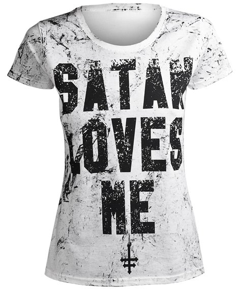 bluzka damska AMENOMEN - SATAN LOVES ME (OMEN057DA WHITE ALLPRINT BLACK)