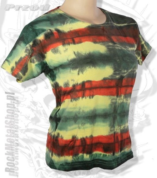 bluzka damska BLACK RED GREEN YELLOW MIX barwiona