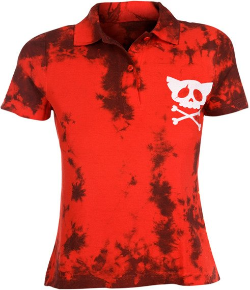 bluzka polo barwiona RED MIX - WHITE SKULL