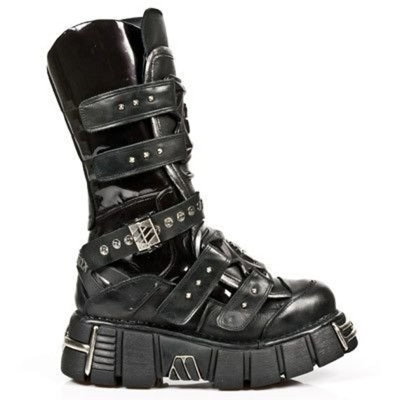 buty  NEW ROCK: ITALI NEGRO, STUCO ACERO, BOX PLANE, TOWER NEGRO A M.1026-S1