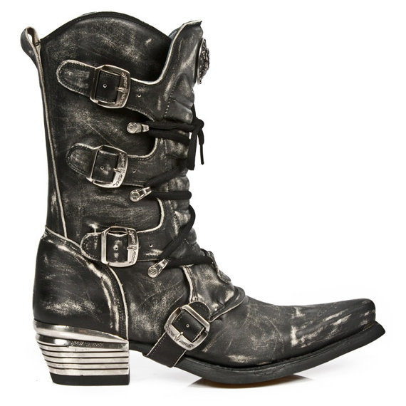 buty NEW ROCK VINTAGE RASPADO NEGRO WEST NEGRO ACERO T.DALLAS [7993-S3]