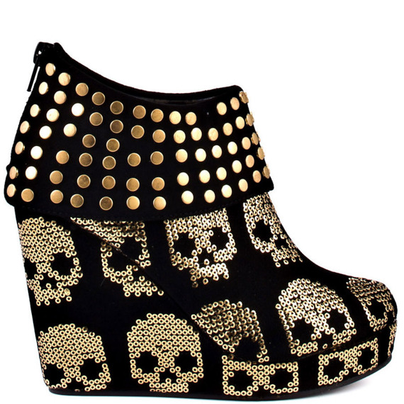 buty na koturnie IRON FIST - GOLD STAR WEDGE (BLACK/GOLD)