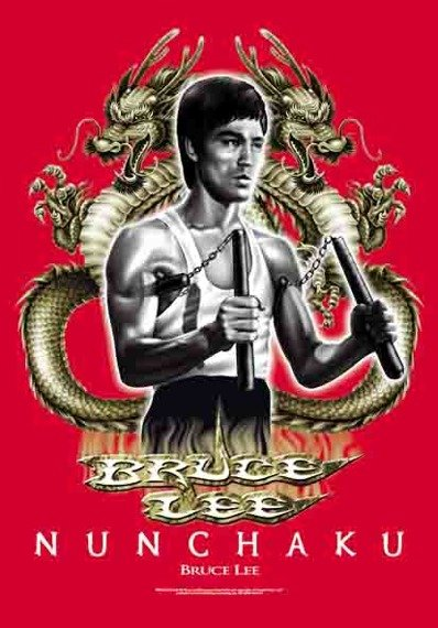 flaga BRUCE LEE - NUNCHAKU