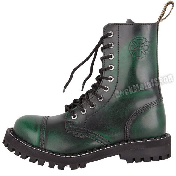 glany STEEL - GREEN / BLACK (10 dziurek)