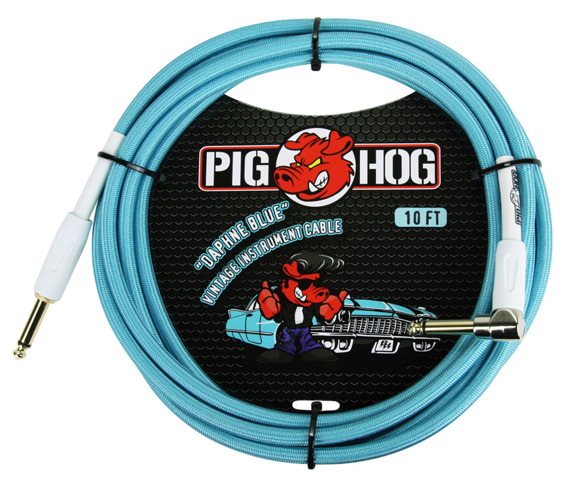 "kabel do gitary PIG HOG ""Daphne Blue"" jack kątowy/prosty 3m"