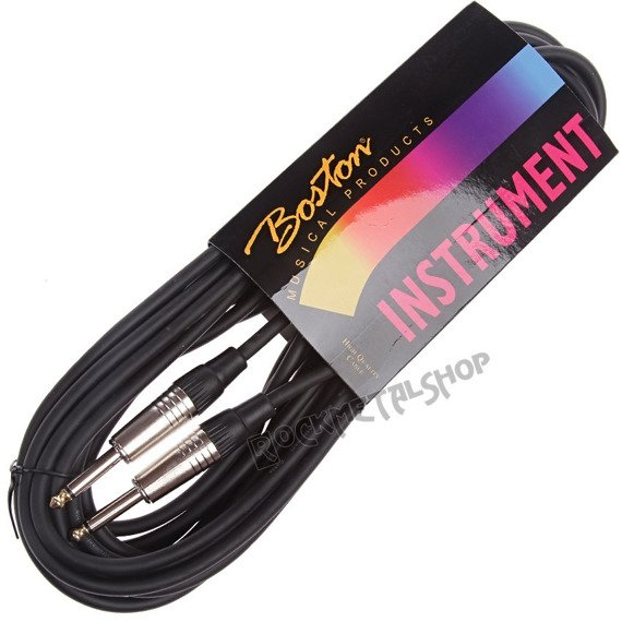 kabel gitarowy BOSTON GC-105-6BK BLACK 6m jack prosty/prosty