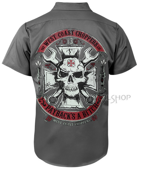 koszula WEST COAST CHOPPERS - MECHANIC GREY