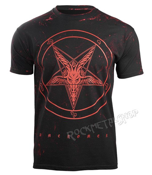 koszulka AMENOMEN - PENTAGRAM GOAT (OMEN001KM BLACK ALLPRINT RED)