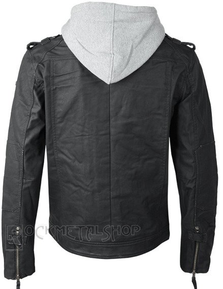 kurtka BLACK ROCK HOODED LEATHER  grey