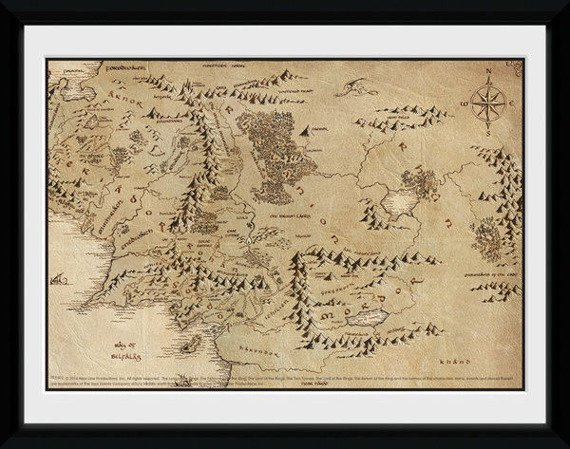 obraz w ramce LORD OF THE RINGS - MAP